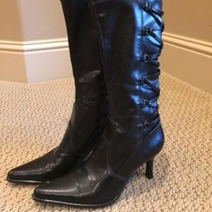 Franco Sarto Mid Calf Black Stretch Boots